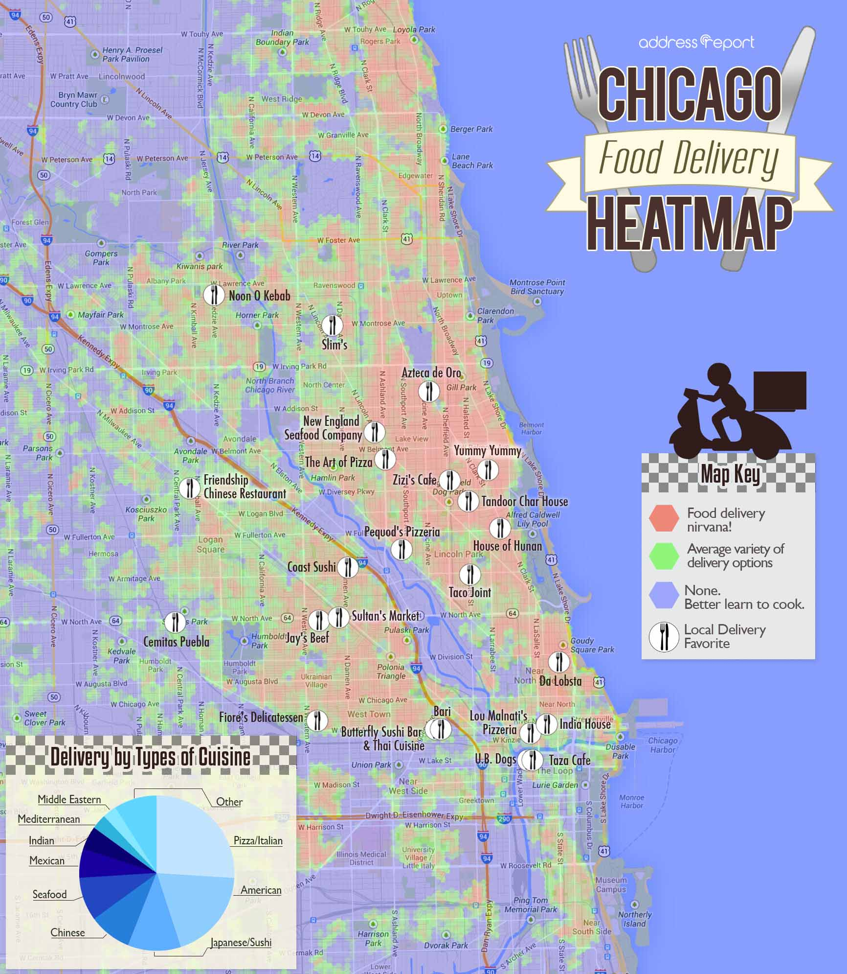 Chicago Food Delivery Heatmap by Rentenna