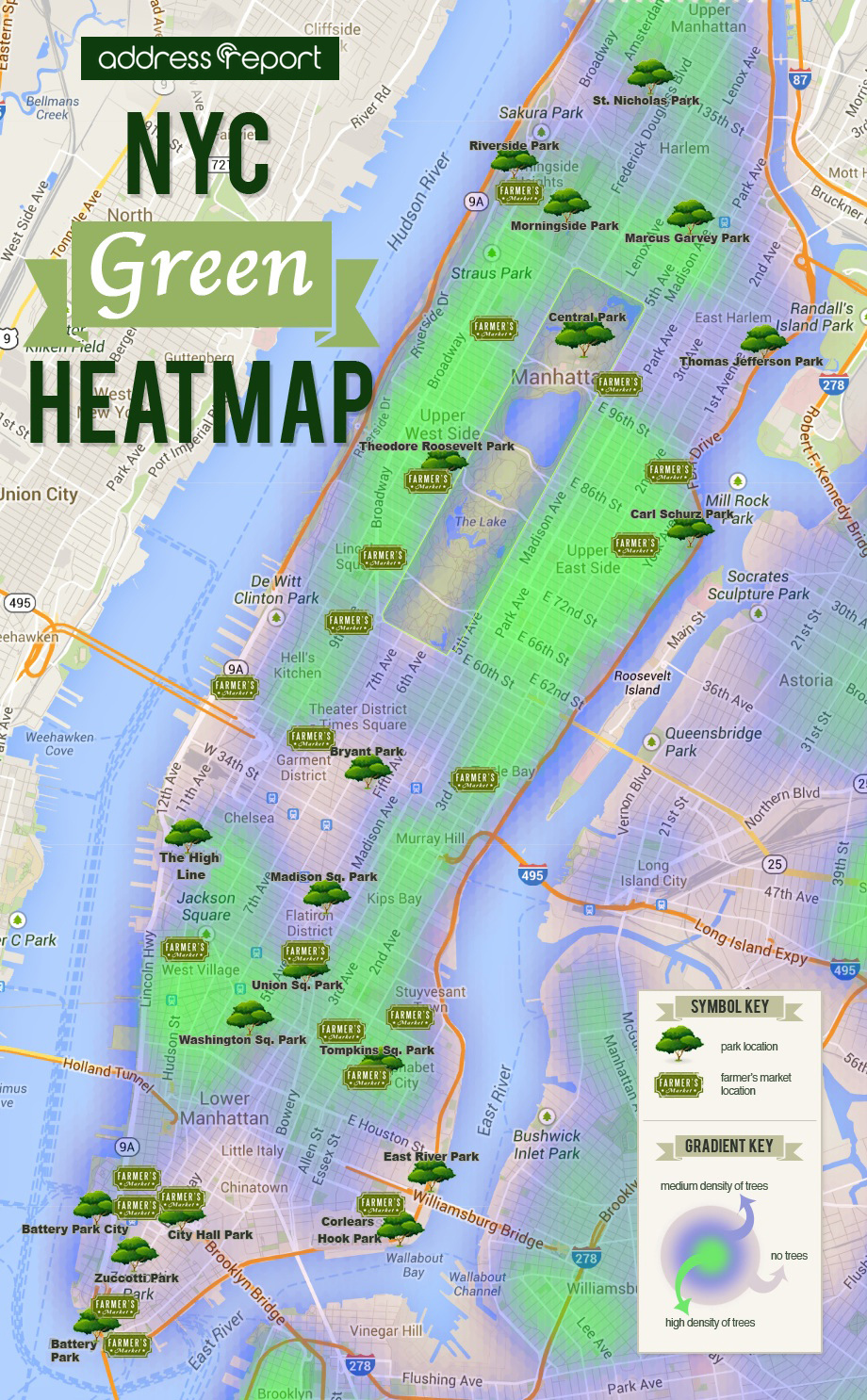 Nyc Green Heatmap Manhattan Trees Parks And Farmers Markets