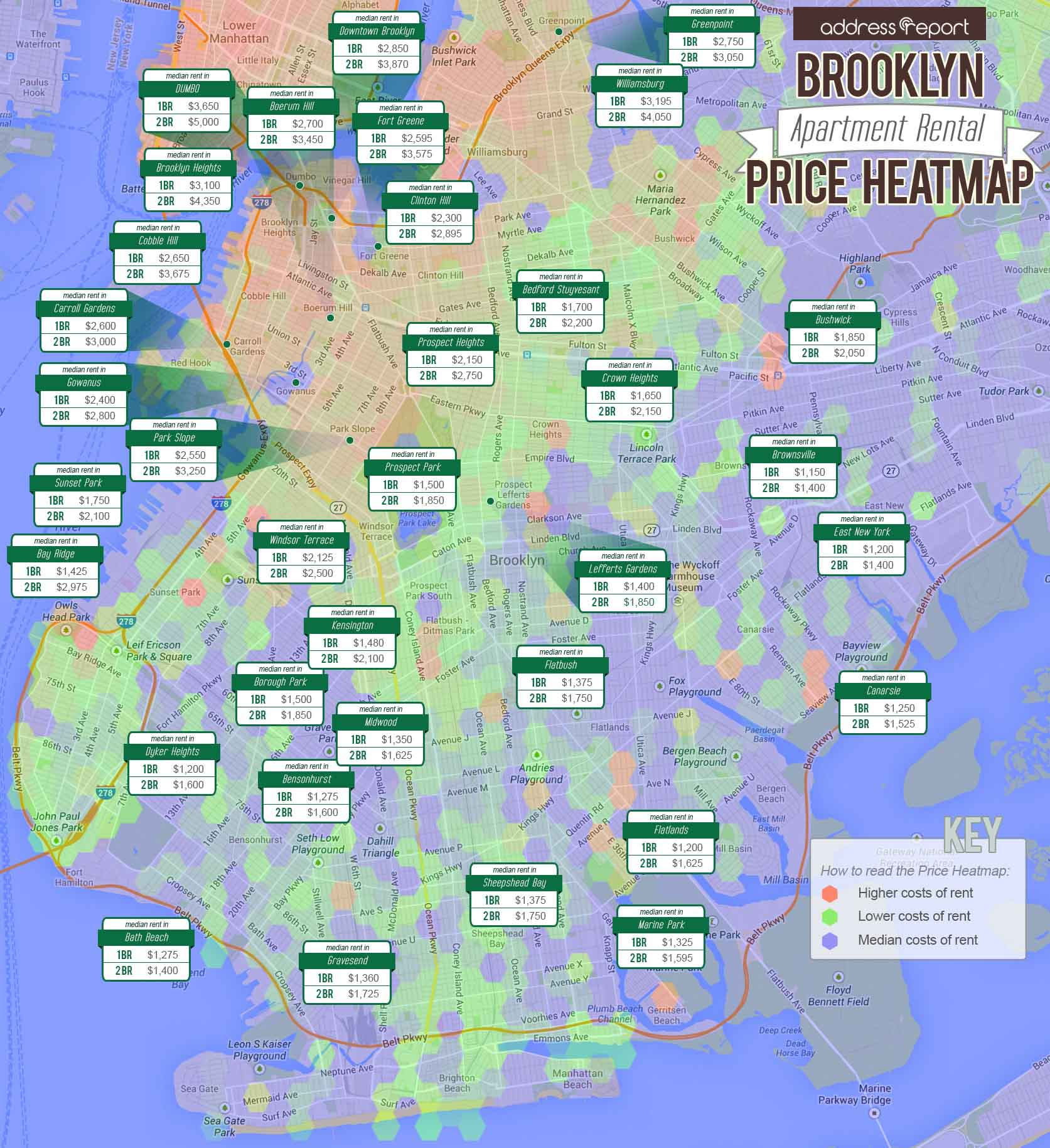 Brooklyn Apartment Rental Prices Map - AddressReport Blog