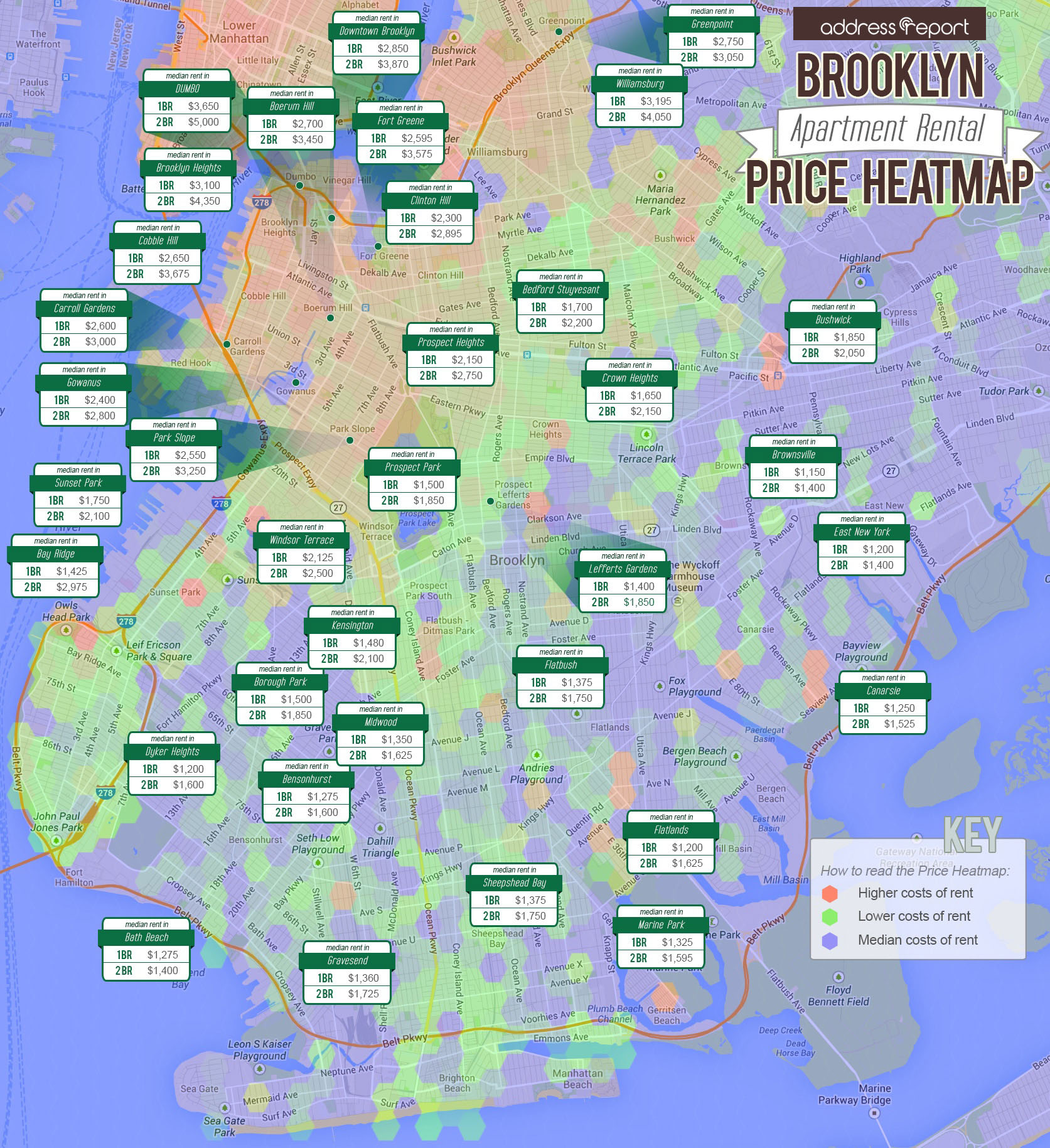 Brooklyn Rental Apartment Prices Map Winter 2017 Address Report