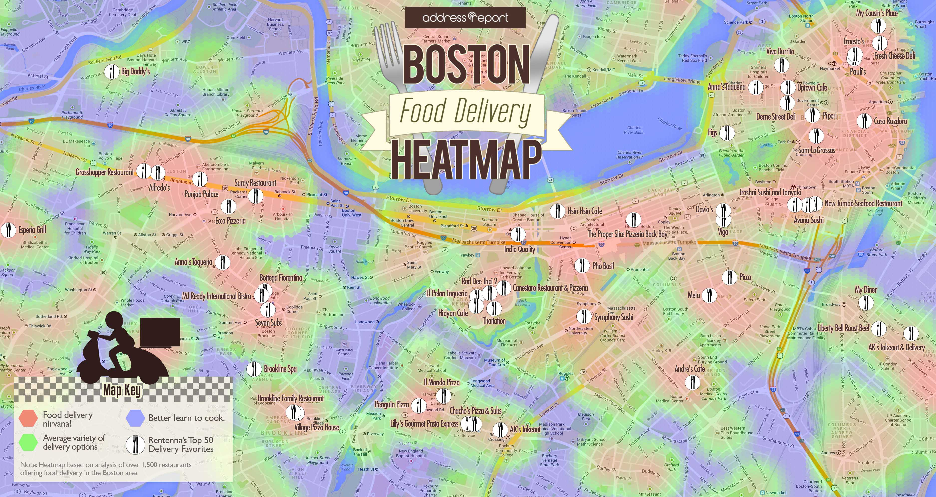 The Boston Food Delivery Heatmap Where To Live If You Love To Order - Boston neighborhood map