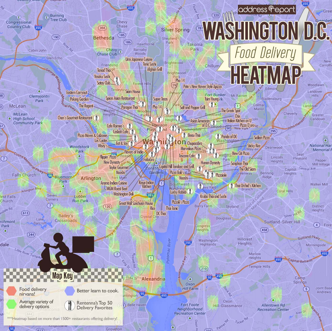 Washington DC Food Delivery Heatmap by Rentenna