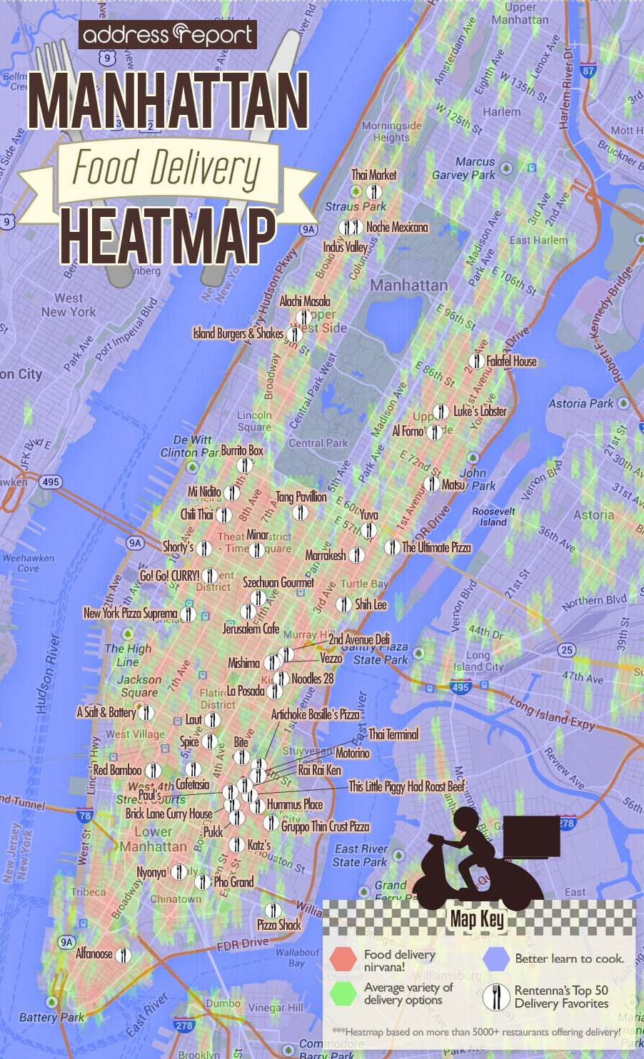 Manhattan Food Delivery Heatmap by Address Report