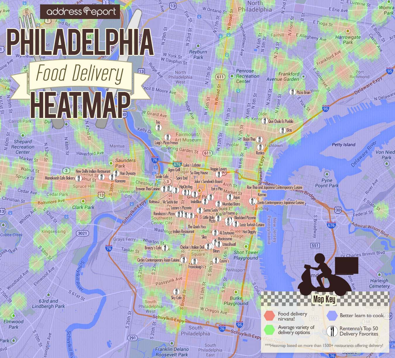 Philadelphia Food Delivery Heatmap by Address Report
